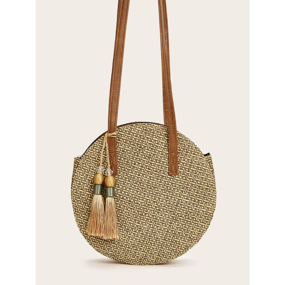 Tassel Fringe Hem Decor Round Bag Grey Women - Handbags- Wallets Glorias Accessory Heaven