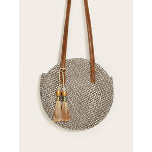 Tassel Fringe Hem Decor Round Bag Multicolor Women - Handbags- Wallets Glorias Accessory Heaven