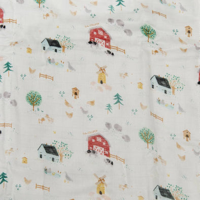 Loulou Lollipop Fitted Crib Sheet, Farm Animals