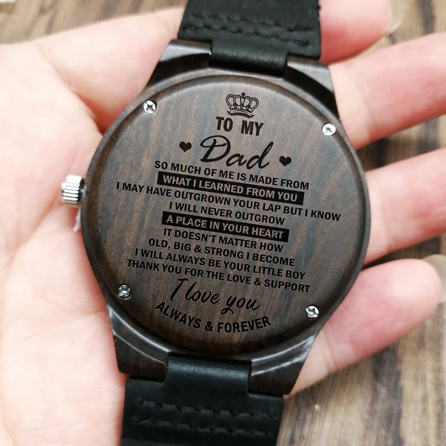 BEST FATHER IN THE WORLD ENGRAVED WOODEN WATCH