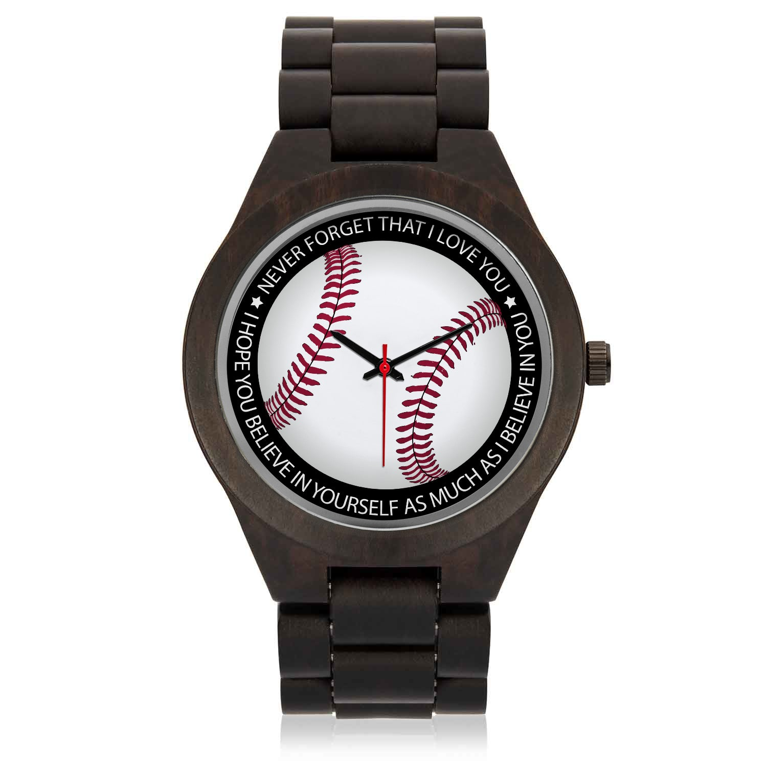 BASEBALL WOOD WATCH - BELIEVE IN YOURSELF