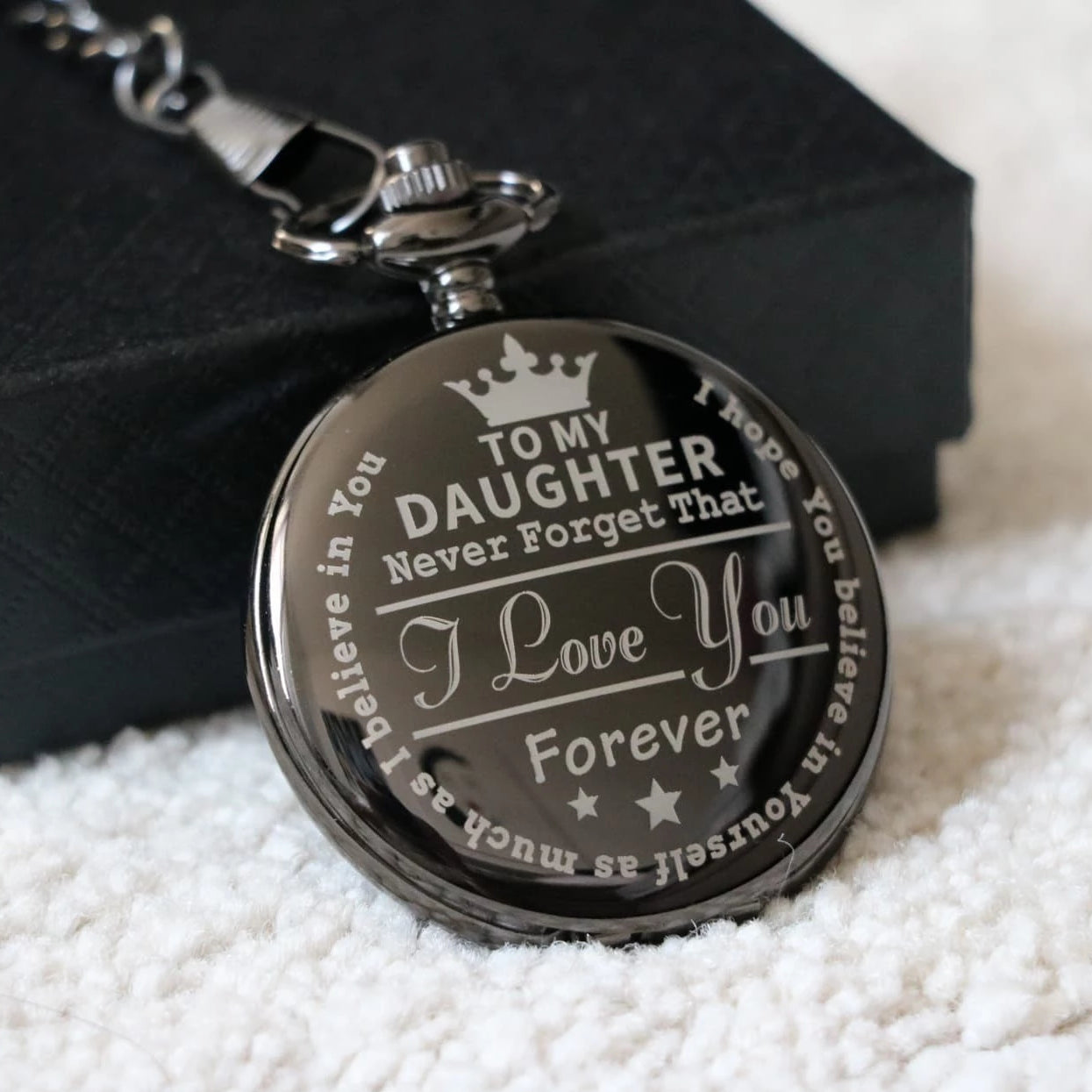 To My Daughter Quartz Pocket Chain Watch