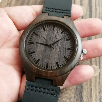 BEYOND MY CONTROL ENGRAVED WOODEN WATCH