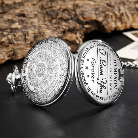 To My Son Quartz Pocket Chain Watch