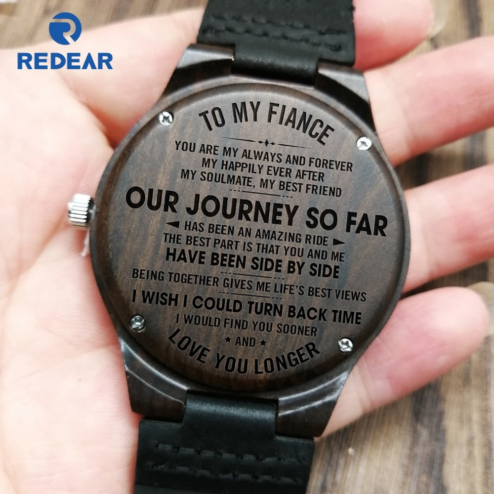 TO MY FIANCE ENGRAVED WOODEN WATCH