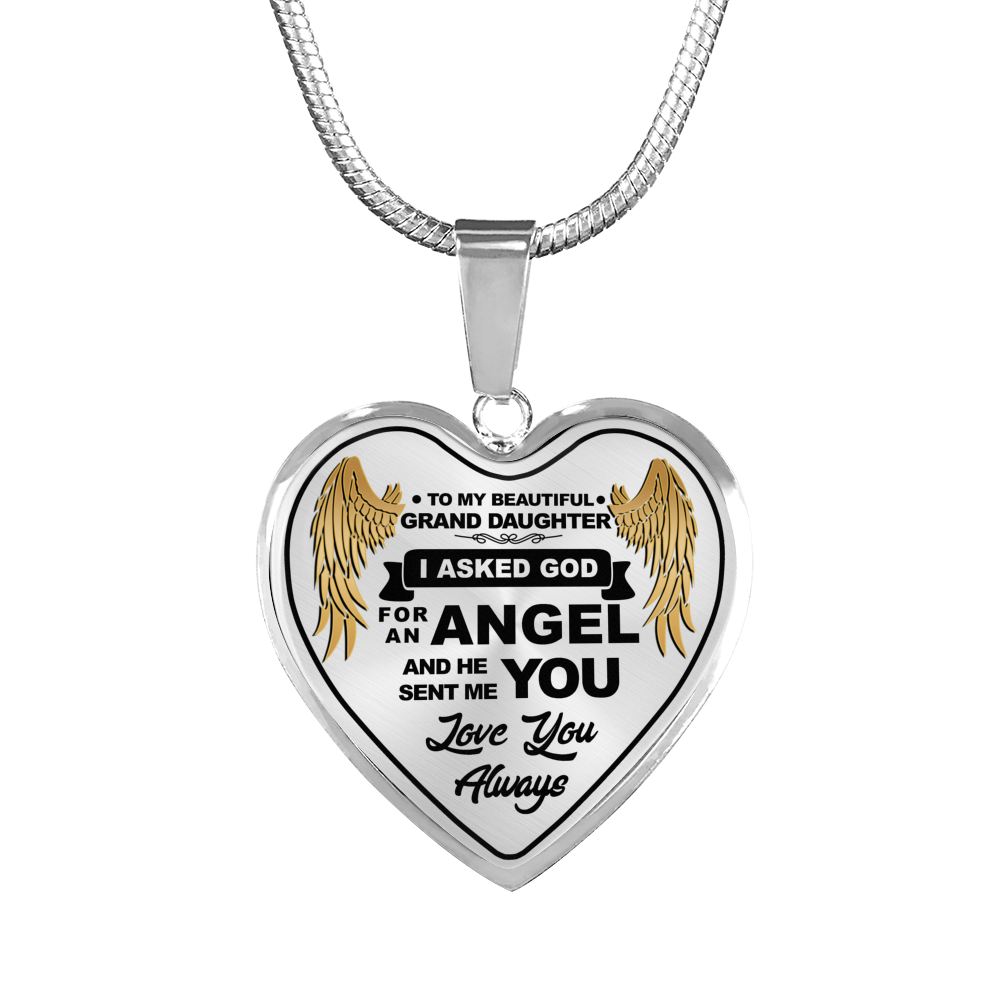 To My Grand Daughter Angel Wing Necklace