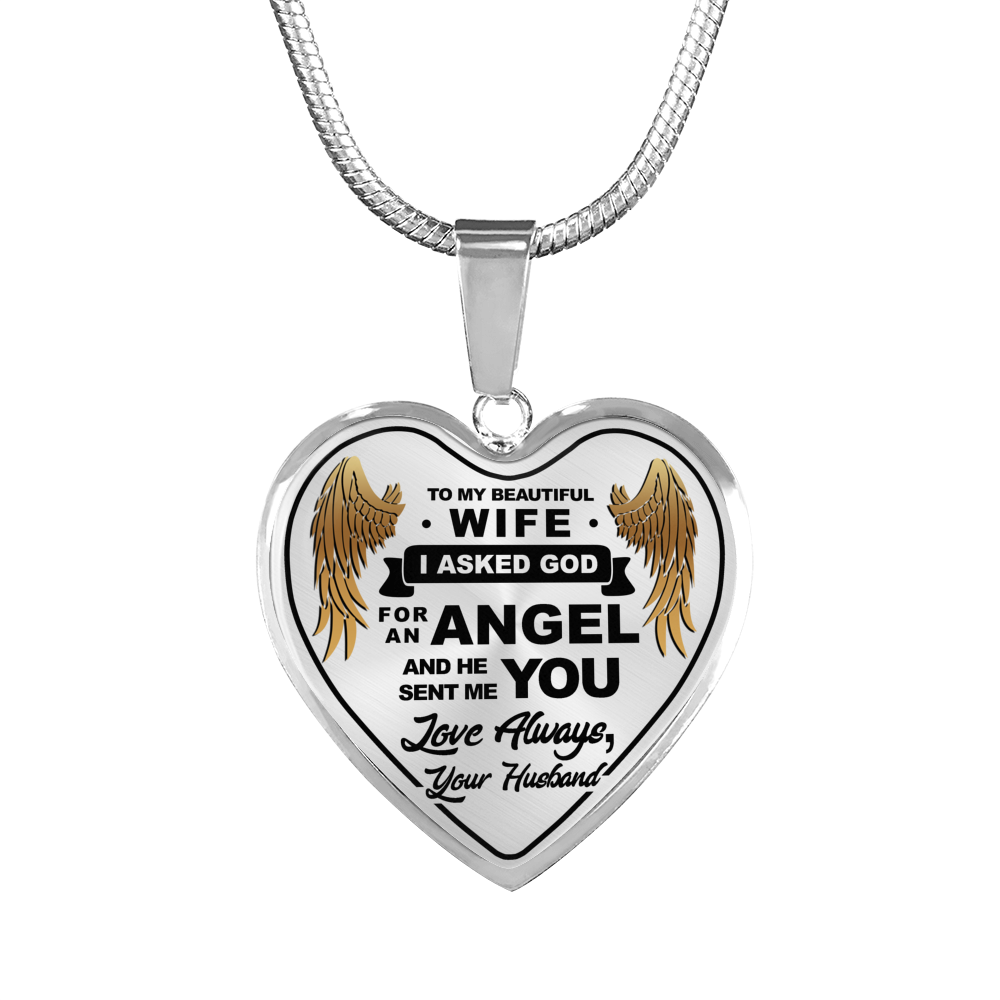 To My Wife Angel Necklace