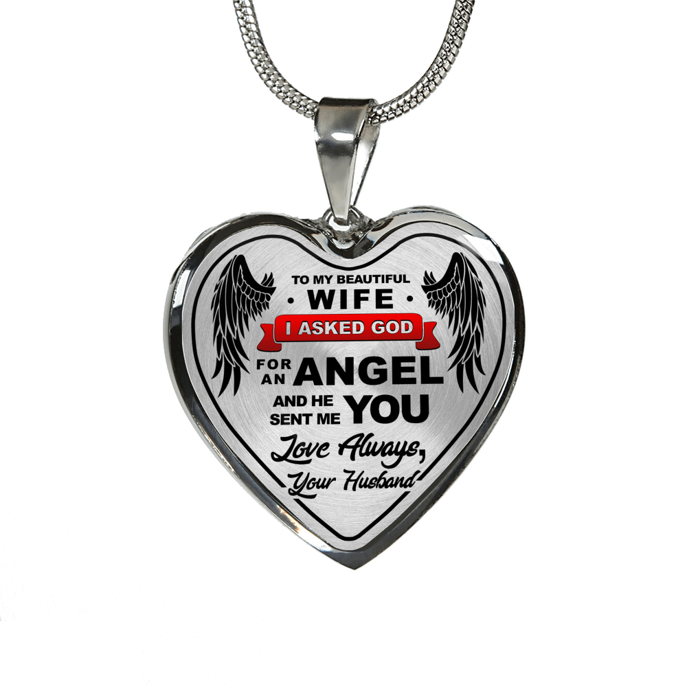 TO MY WIFE - HEART ENGRAVED NECKLACE