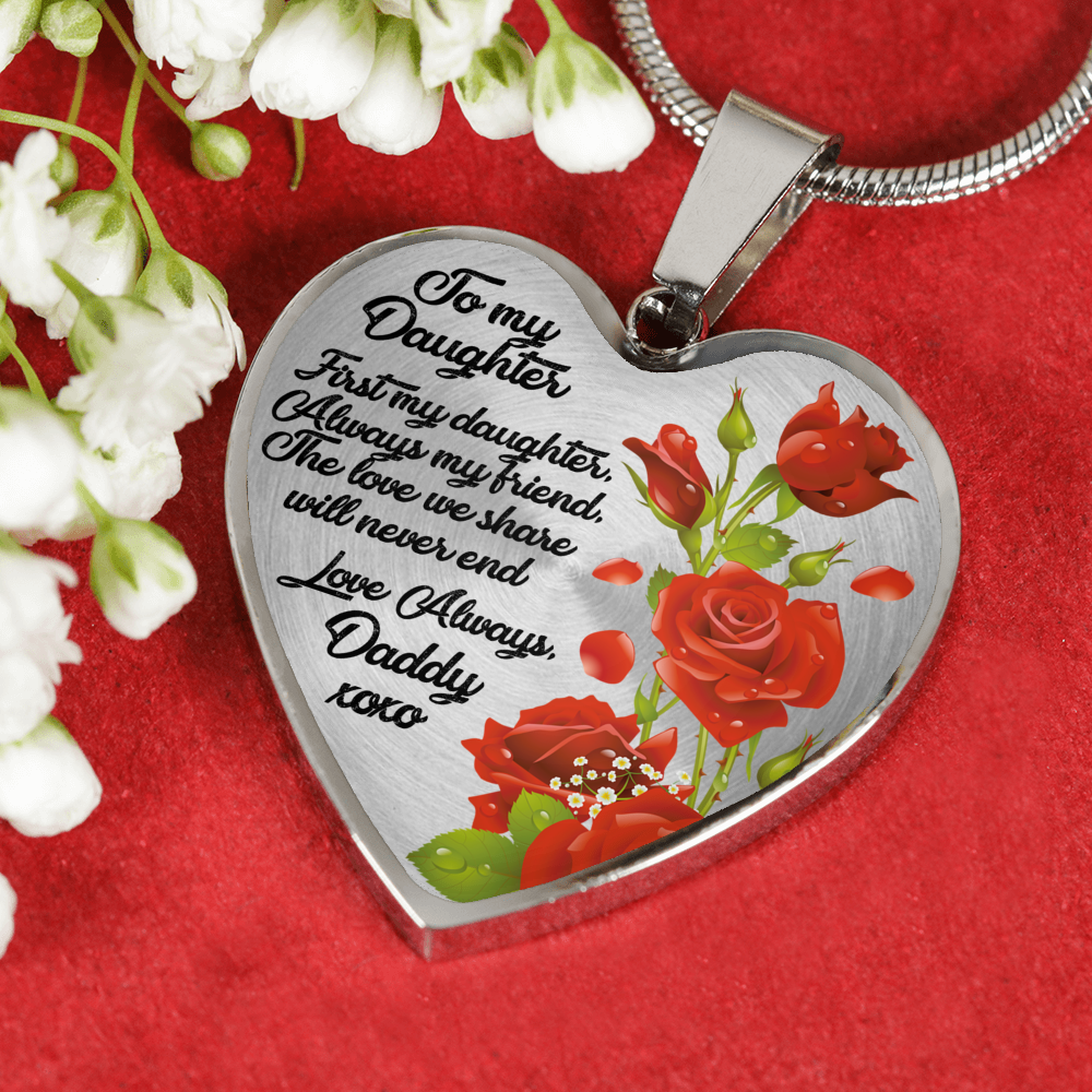 To My Daughter - Rose - Silver Necklace