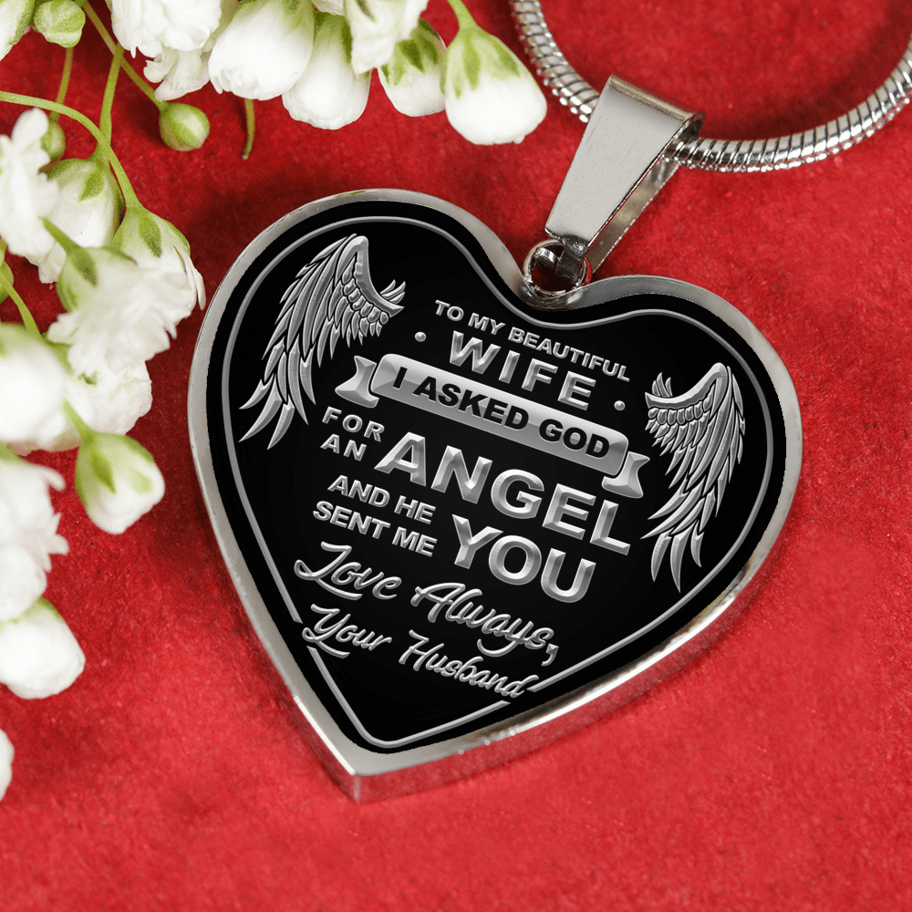TO MY WIFE - SILVER HEART ENGRAVED NECKLACE