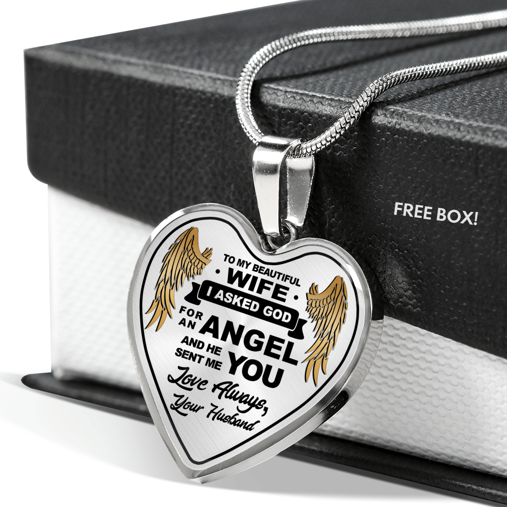 To My Wife Angle Wing Pendant