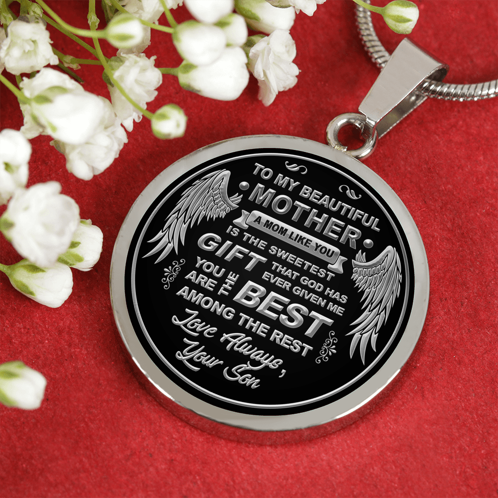 To My Mom - Your Are The Best SILVER Engraved Necklace