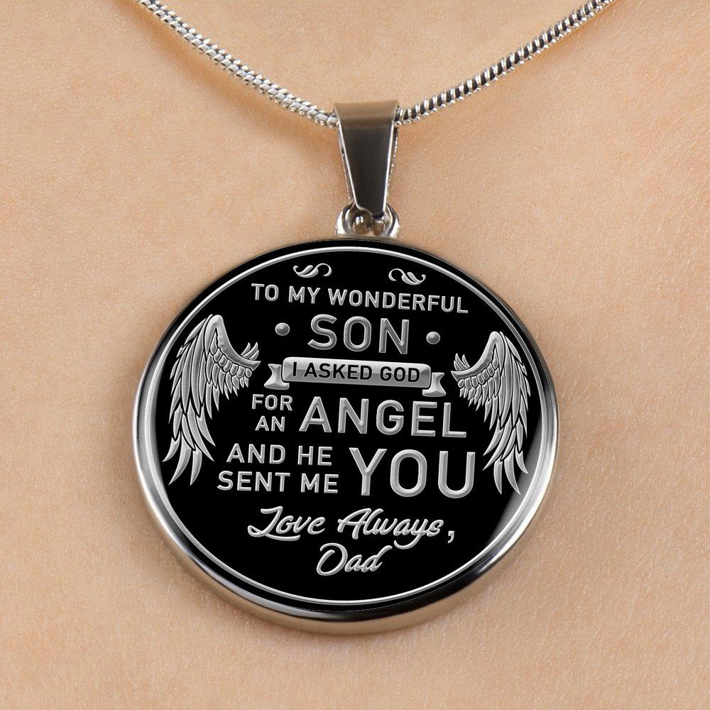 TO MY SON - GOD SENT - ENGRAVABLE CIRCLE NECKLACE