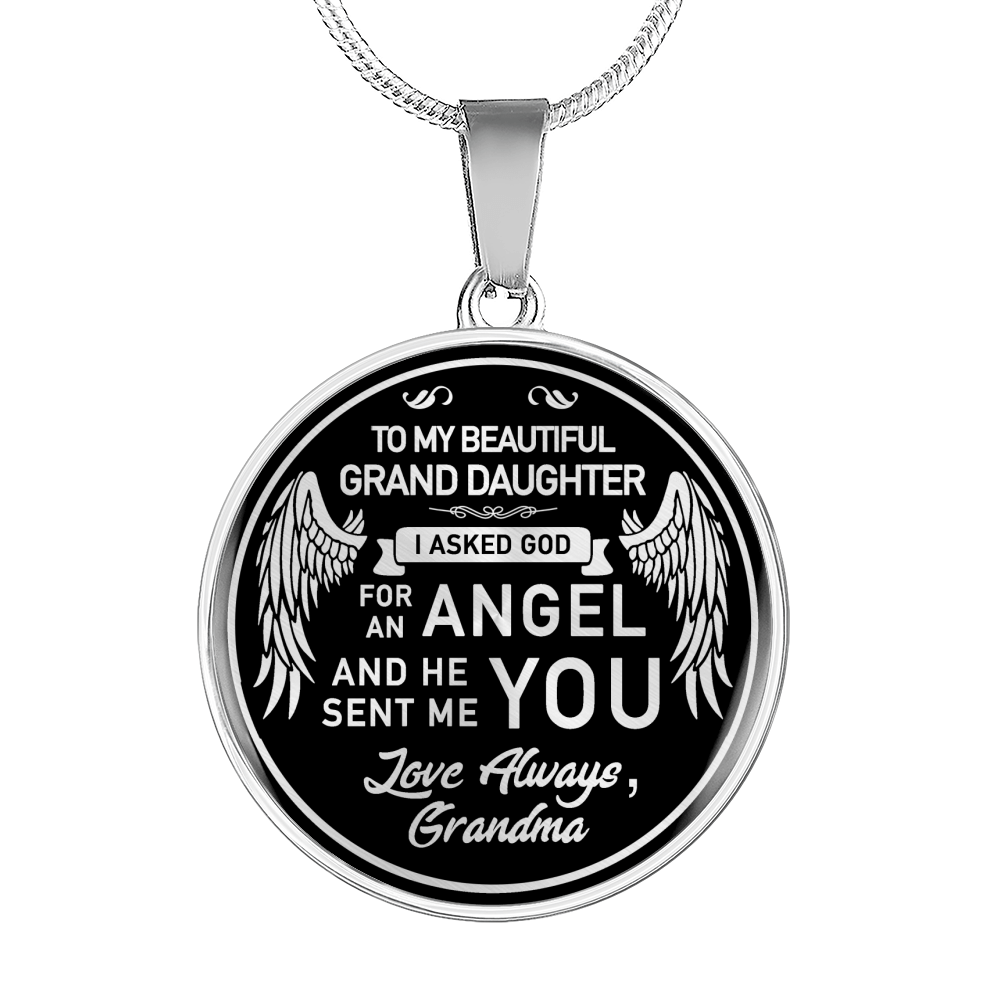 To My Grand Daughter Angel Necklace