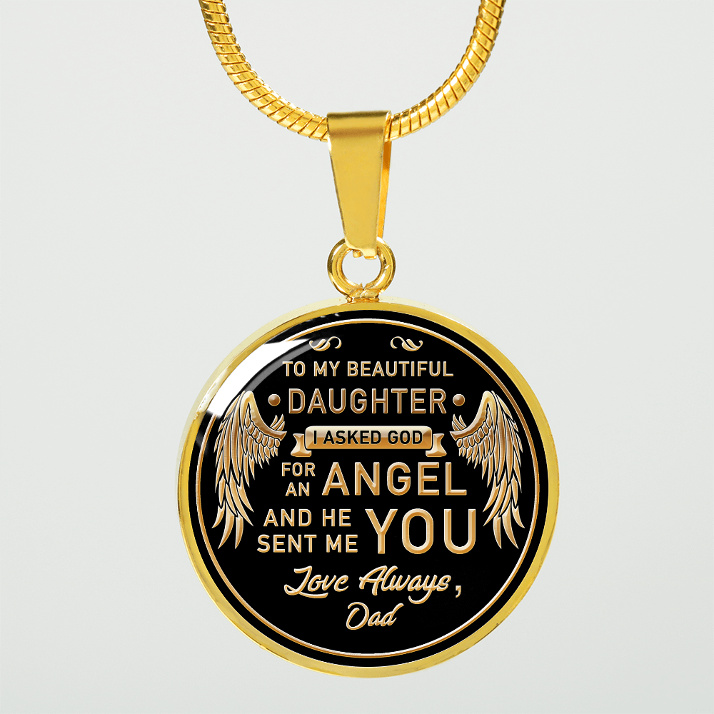 TO MY DAUGHTER - GOD SENT - ENGRAVABLE GOLD CIRCLE (Necklace or Bangle)