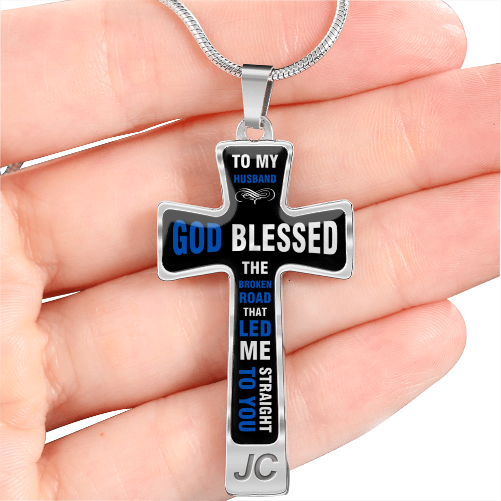 TO MY HUSBAND GOD BLESSED NECKLACE