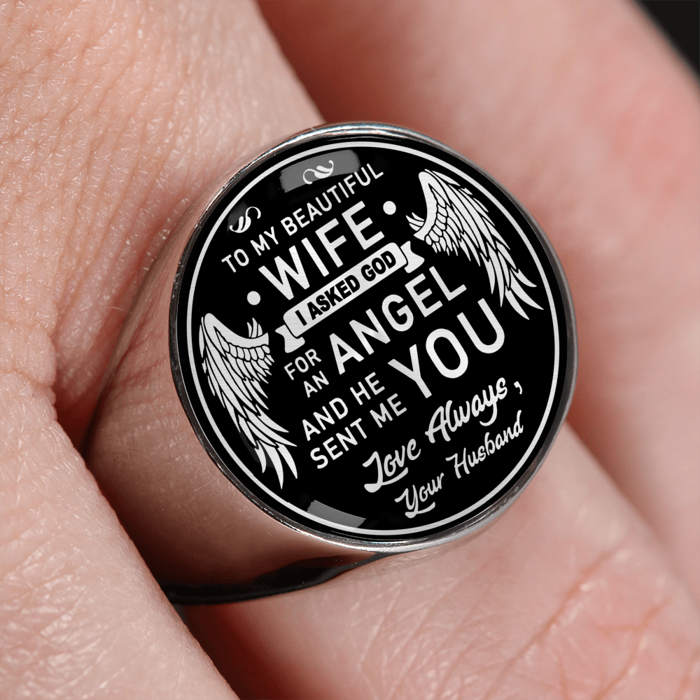 To My Wife Angel Ring