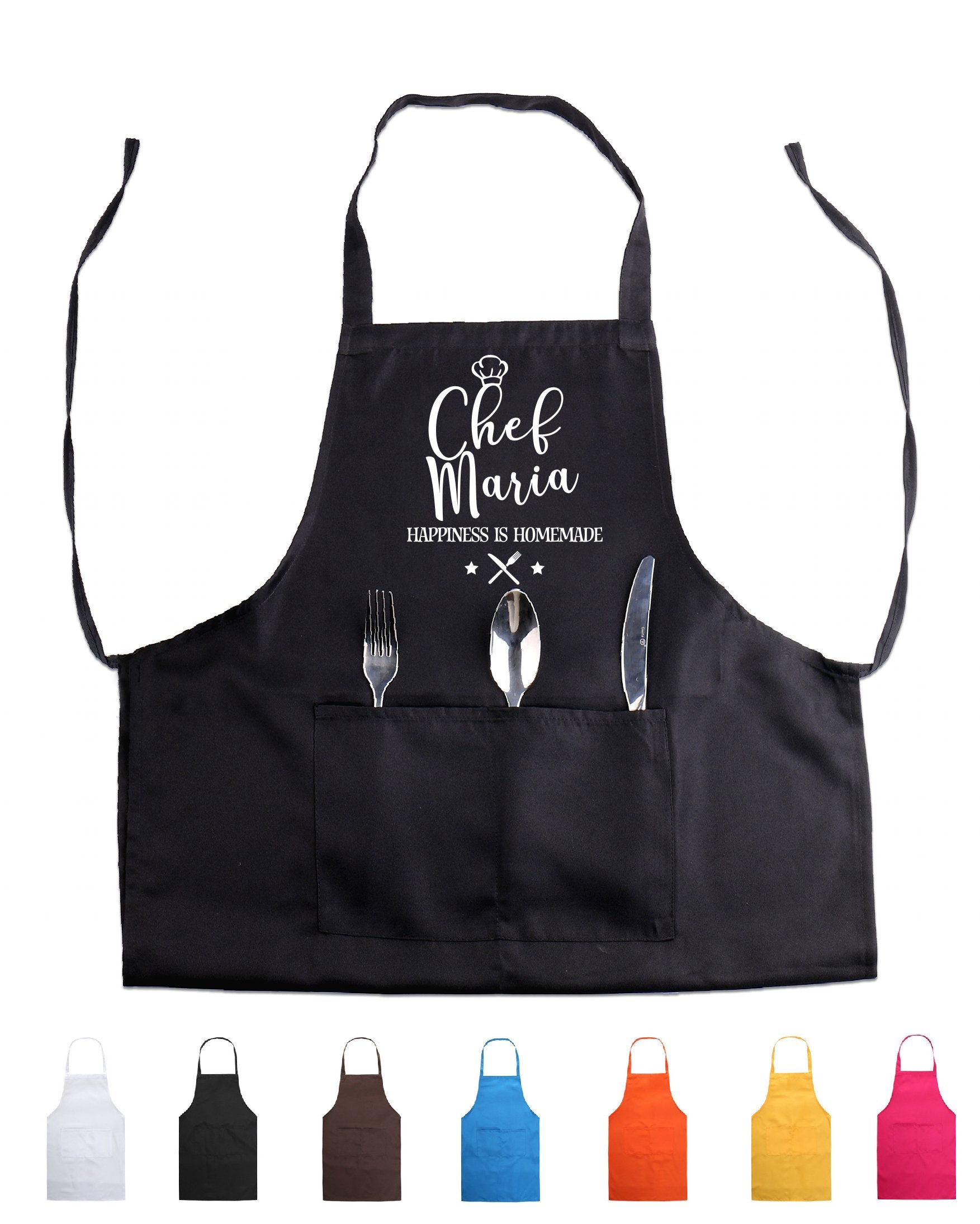Personalized Apron with Pocket Mother Grandmother Your Name Custom Text Cooking Bakery Chef Wedding Gift Housewarming Wife Gift