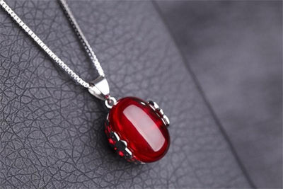 Ruby Ring & Necklace Set - 925 Solid Silver