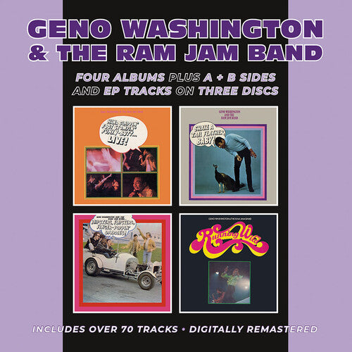 Washington, Geno & the Ram Jam Band: Hand Clappin' Foot Stompin' Funky-Butt... Live! / Shake A Tail Feather/ Hipsters, Flipsters, Finger-Poppin' Daddies! / Running Wild Plus A &B Sides & EP Tracks