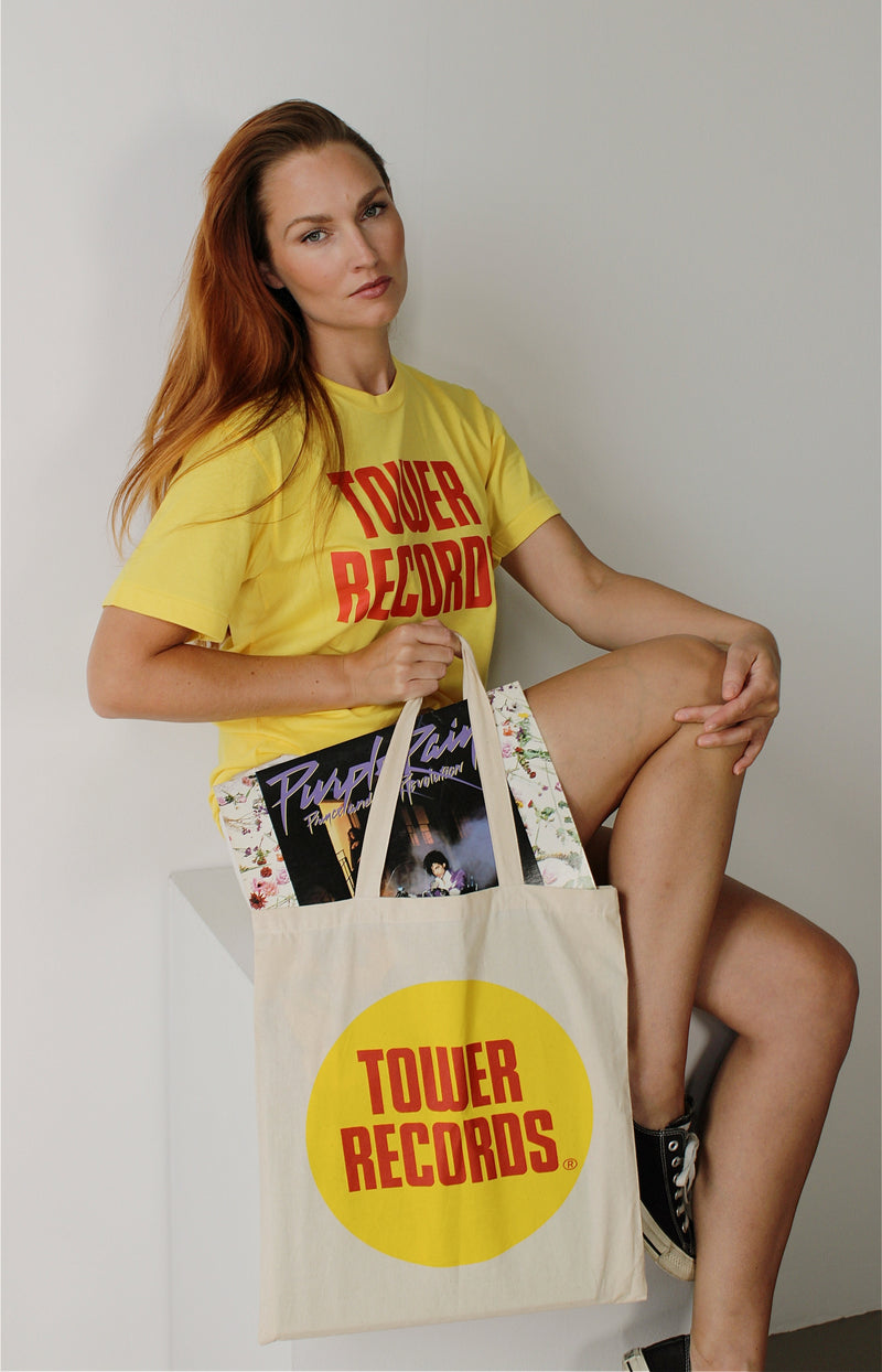 Natural Tower Records Canvas Tote Bag