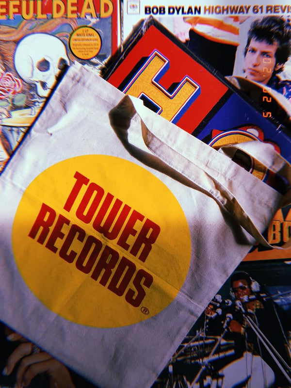 Tan Tower Records Canvas Tote Bag