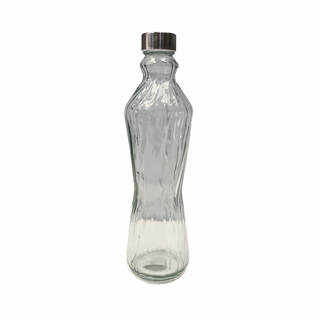 1 litre Glass Water Bottle with Textured Lines and stainless steel lid making it hygienic and easy to clean.| Bliss Gifts & Homewares | Unit 8, 259 Princes Hwy Ulladulla | South Coast NSW | Online Retail Gift & Homeware Shopping | 0427795959, 44541523