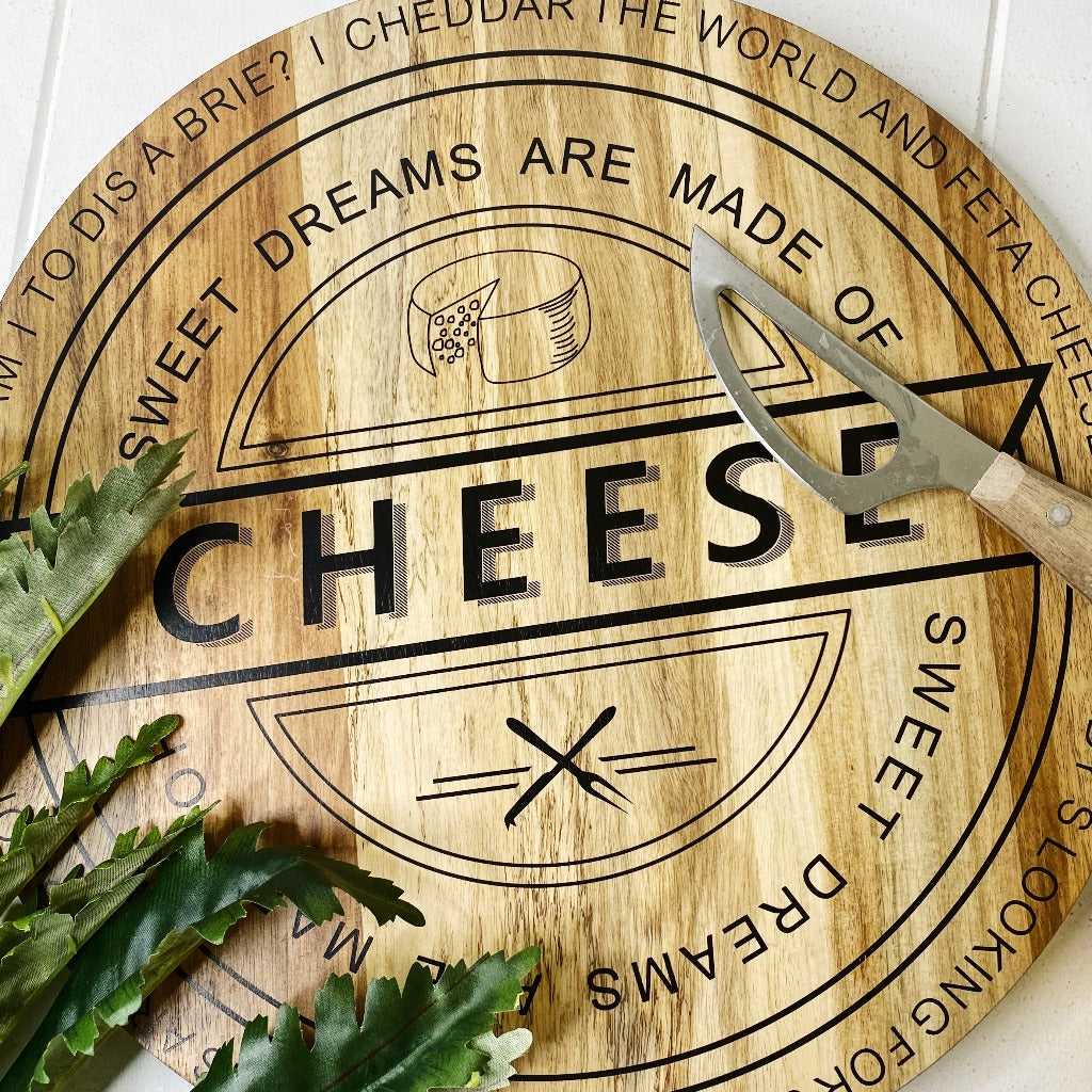 Cerve Classica 'Sweet Dreams' 40cm Cheese Board - Cheese Board –  Made from sustainably grown Acacia hardwood - features printed text that is a parody of the song 'Sweet Dreams' - Food grade board |Bliss Gifts & Homewares - Unit 8, 259 Princes Hwy Ulladulla - Shop Online & In store - 0427795959, 44541523 - Australia wide shipping