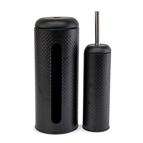 Salt&Pepper | SPOT | Toilet Brush & Roll Holder | Black embossed spot pattern | Bliss Gifts & Homewares | Milton | Online & In-store | 0427795959 | Afterpay available