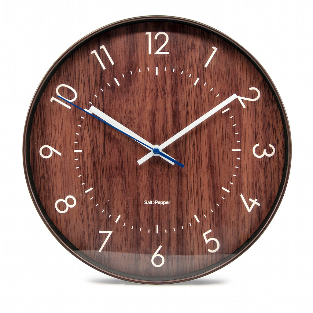 Accessorise your home and express your personality with the 31cm BAILEY Clock, apart of Salt&Pepper's ZONE collection. White hands against a dark brown ''wood look'' face. Silent sweeping motion. Shop online or instore. AfterPay available. Australia wide Shipping. | Bliss Gifts & Homewares | Unit 8, 259 Princes Hwy Ulladulla | South Coast NSW | 0427795959, 44541523