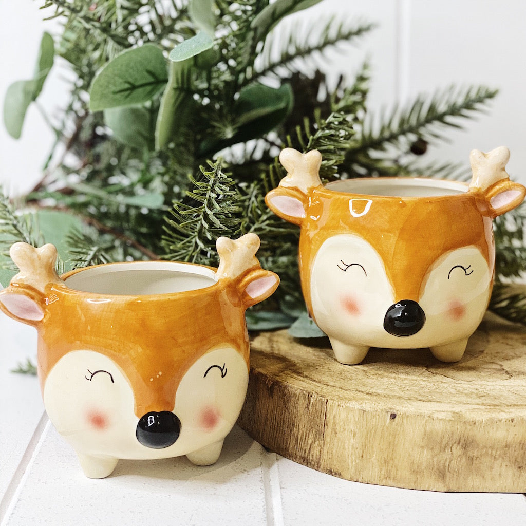 Add a little character to your indoor or outdoor garden with our super cute Bambi Deer Pot. Measures: 11 x 9.5 x 9.5 cm. Ceramic. Comes with drainage hole and plug BLISS Gifts & Homewares - Online & In-store. Australia Wide Shipping | Bliss Gifts & Homewares | Unit 8, 259 Princes Hwy Ulladulla | South Coast NSW | 0427795959, 44541523