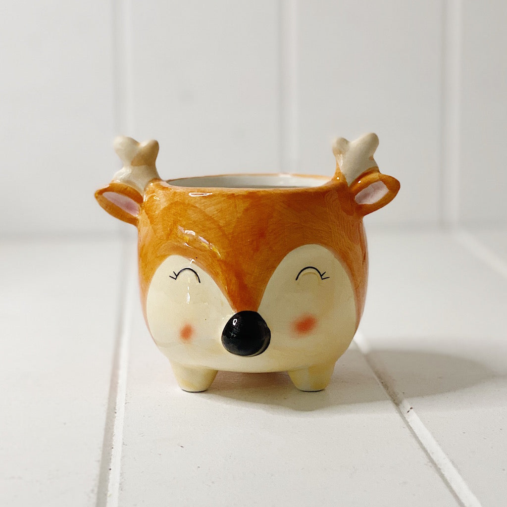 Add a little character to your indoor or outdoor garden with our super cute Bambi Deer Pot. This cute ceramic little pot are perfect for a small space that needs a freshen up with some greenery, this pot will add some colour and quirkiness to any space.| Bliss Gifts & Homewares | Unit 8, 259 Princes Hwy Ulladulla | South Coast NSW | Online Retail Gift & Homeware Shopping | 0427795959, 44541523