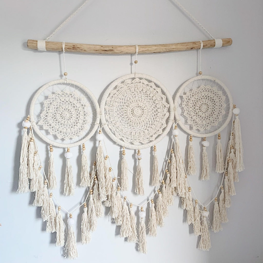 Boho Driftwood & Macrame Triple Dreamcatcher - Features 3 beautiful Dreamcatchers hung together on a piece of driftwood, with hanging tassels - Measures Approx: 85cm wide x 127cm tall |Bliss Gifts & Homewares - Unit 8, 259 Princes Hwy Ulladulla - Shop Online & In store - 0427795959, 44541523 - Australia wide shipping