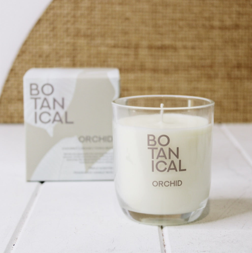 Botanical 180gm Candle - Orchid - Salt&Pepper - warming blend of coconut, orchid and tonka bean - Natural essential oils - burn-time of 25 hours |Bliss Gifts & Homewares - Unit 8, 259 Princes Hwy Ulladulla - Shop Online & In store - 0427795959, 44541523 - Australia wide shipping