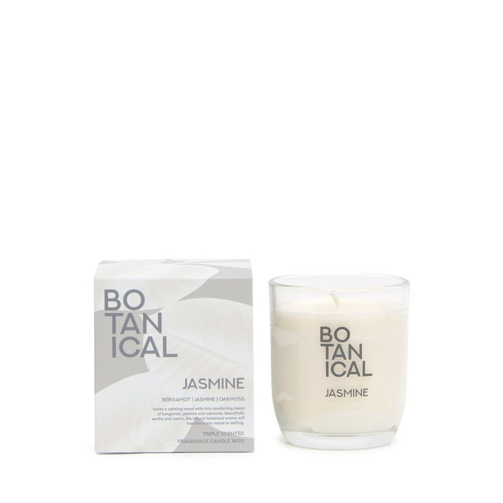 Botanical 180gm Candle – Jasmine - Salt&Pepper - invite a calming mood with this comforting blend of bergamot, jasmine and oak moss - Natural essential oils - burn-time of 25 hours |Bliss Gifts & Homewares - Unit 8, 259 Princes Hwy Ulladulla - Shop Online & In store - 0427795959, 44541523 - Australia wide shipping