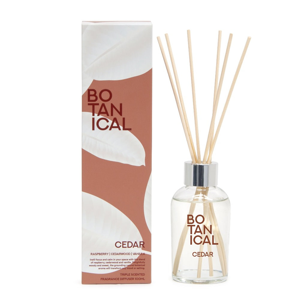 Botanical 100ml Reed Diffuser – Cedar - Salt&Pepper - instil focus and calm into your space with this high-end blend of raspberry, cedar wood and vanilla - Natural essential oils - burn-time of 25 hours |Bliss Gifts & Homewares - Unit 8, 259 Princes Hwy Ulladulla - Shop Online & In store - 0427795959, 44541523 - Australia wide shipping