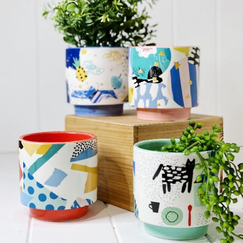 Our range of Bowie Pots - Large will add a unique and whimsical allure to your home or garden. These gorgeous bright zany pots come in 4 different designs. Each pot features an eccentric abstract pattern design, perfect for all home and garden styles. Measures: 14x14x14cm | Bliss Gifts & Homewares | Unit 8, 259 Princes Hwy Ulladulla | South Coast NSW | Online Retail Gift & Homeware Shopping | 0427795959, 44541523