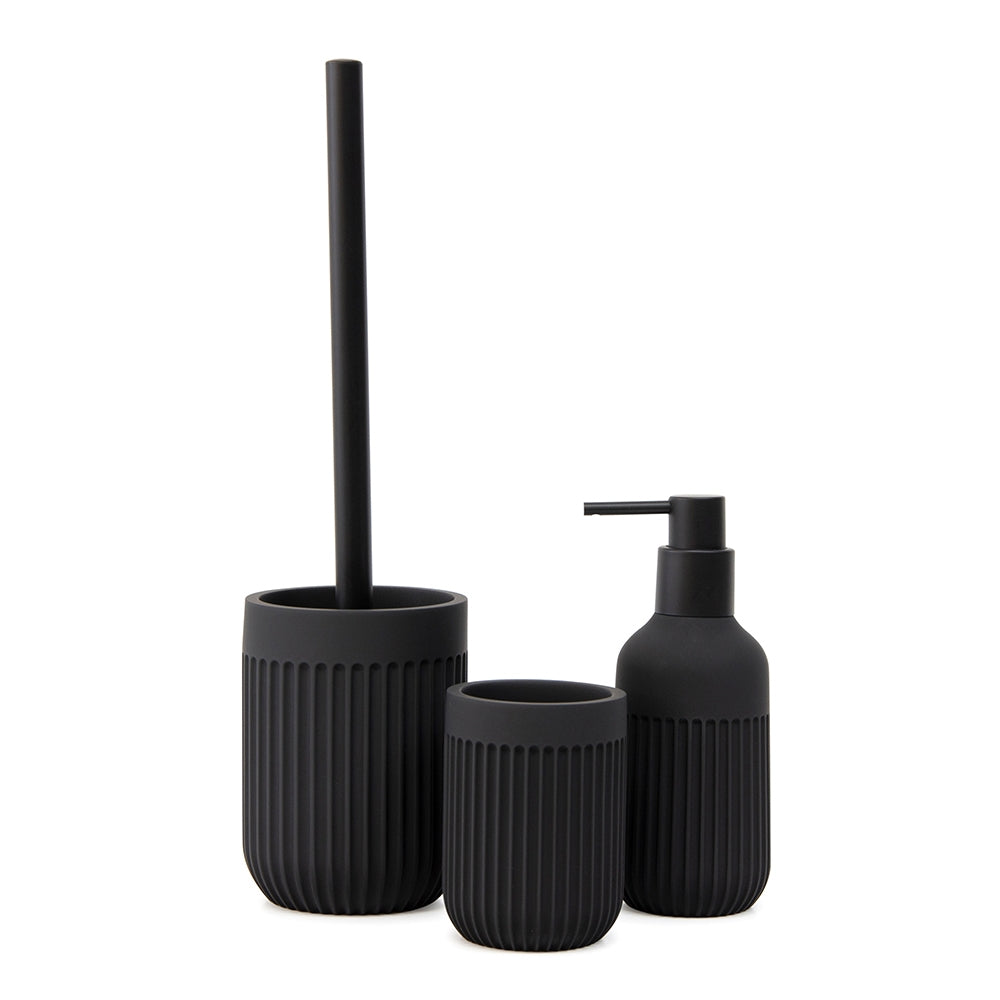 Embrace the latest trends in bathroom styling with the Cult Toilet Brush Holder. Made from poly resin, this 10x35.5cm toilet brush holder in monochromatic matte black enjoys a minimalist design with a ribbed texture finish.| Bliss Gifts & Homewares | Unit 8, 259 Princes Hwy Ulladulla | South Coast NSW | Online Retail Gift & Homeware Shopping | 0427795959, 44541523