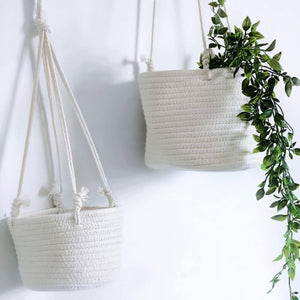 White Coastal Rope 80cm Hanging Planter Basket Large 20x20cm | Bliss Gifts & Homewares | Milton | Online & In-store | 0427795959 | Afterpay availab