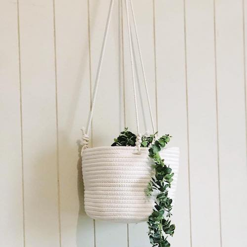 White Coastal Rope 80cm Hanging Planter Basket Large 20x20cm  | Bliss Gifts & Homewares | Milton | Online & In-store | 0427795959 | Afterpay available