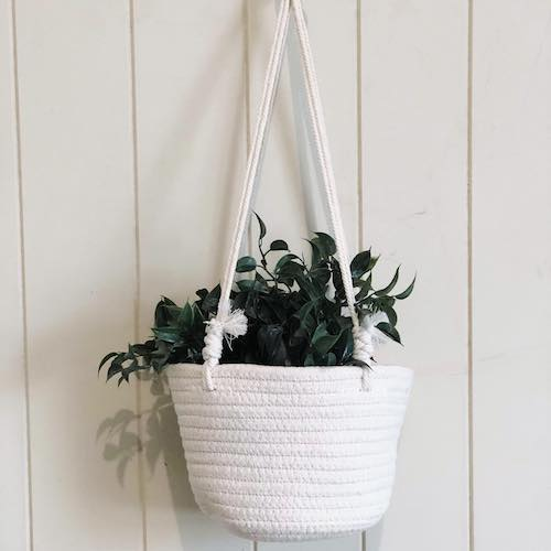 Coastal Rope 55cm Hanging Planter Basket Small 18x18x14H cm  | Bliss Gifts & Homewares | Milton | Online & In-store | 0427795959 | Afterpay available