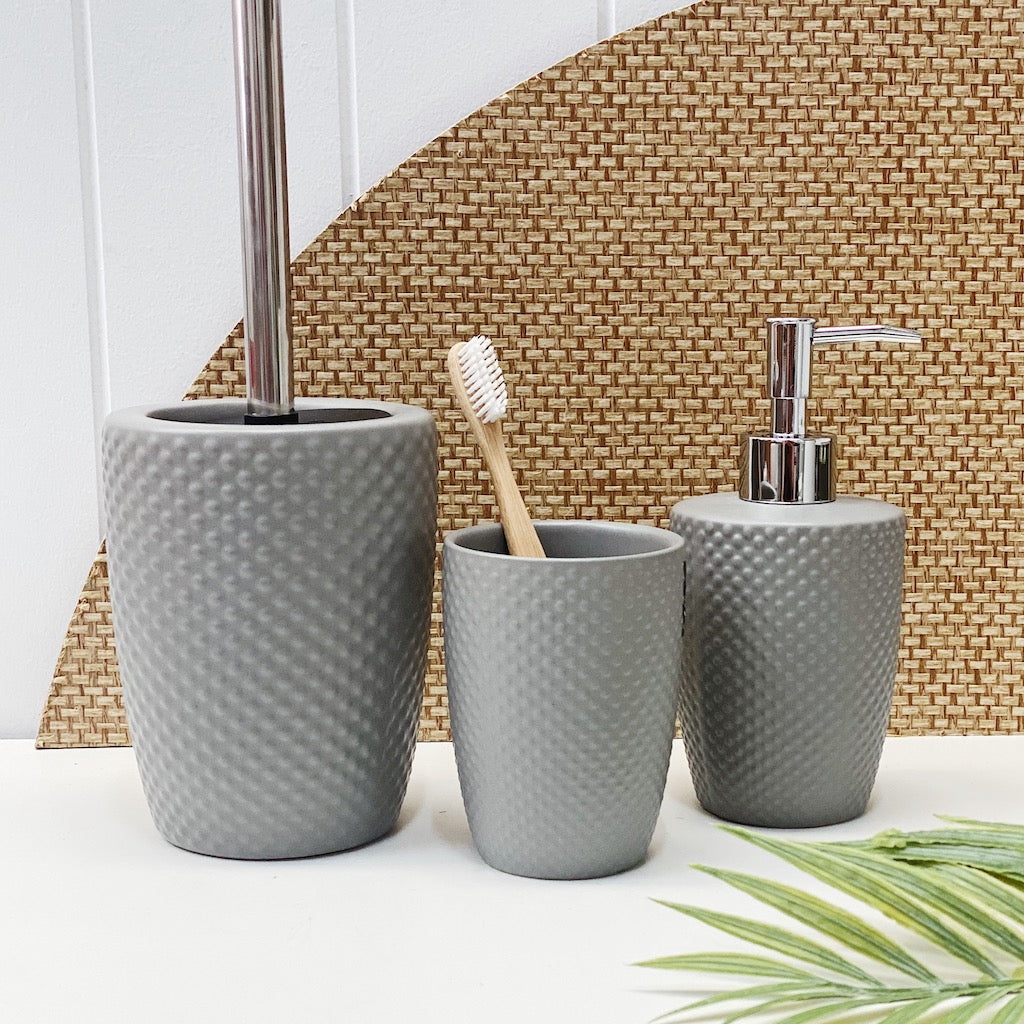 Update your bathroom with the classic styling of the Emboss Toilet Brush Holder in cloud. Apart of salt&pepper's Suds collection, this 39.5cm ceramic toilet brush holder has a sleek stainless steel handle and features a spotted embossed textured finish.| Bliss Gifts & Homewares | Unit 8, 259 Princes Hwy Ulladulla | South Coast NSW | Online Retail Gift & Homeware Shopping | 0427795959, 44541523