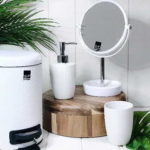Update your bathroom with a great new classic with EMBOSS by Salt&Pepper. This 11x39.5cm toilet brush & holder from the SUDS bathroom collection is made from a highly durable ceramic, and features a spotted embossed textured finish | Bliss Gifts & Homewares | Milton | Online & In-store | 0427795959 | Afterpay available