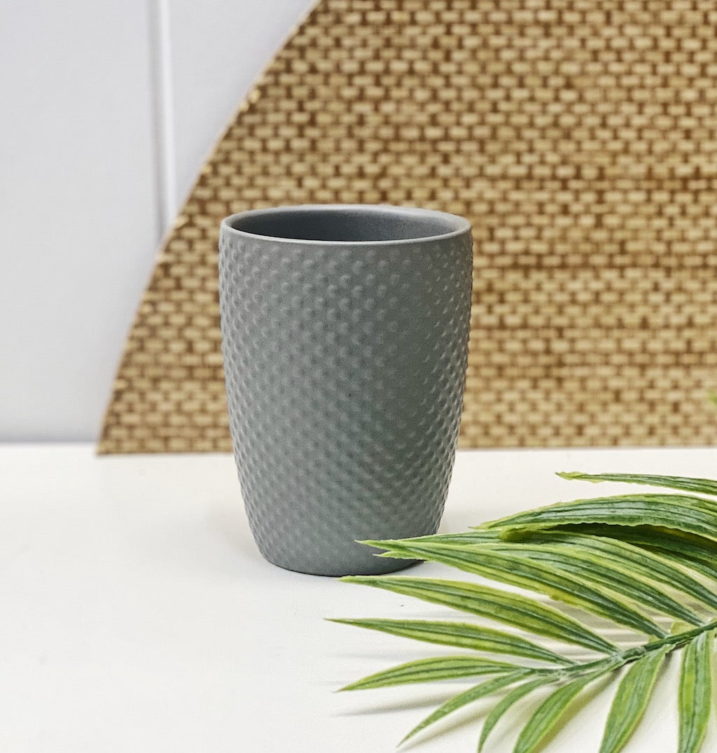 Update your bathroom with the classic styling of the Emboss Tumbler in cloud. This 8x11cm ceramic tumbler will keep your toothbrushes organised and features a spotted embossed textured finish.| Bliss Gifts & Homewares | Unit 8, 259 Princes Hwy Ulladulla | South Coast NSW | Online Retail Gift & Homeware Shopping | 0427795959, 44541523