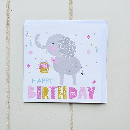 Kid's Elephant Birthday Greeting Card. Give this adorable square elephant card to someone who just loves and adores these cute animals for their birthday! | Bliss Gifts & Homewares | Unit 8, 259 Princes Hwy Ulladulla | South Coast NSW | Online Retail Gift & Homeware Shopping | 0427795959, 44541523