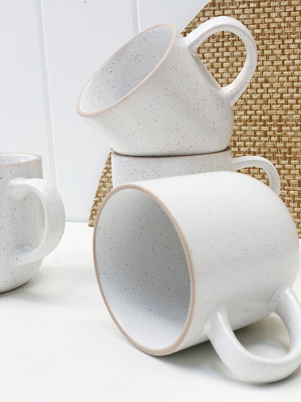 Ideal for everyday use is Salt&Pepper's four-piece HANA mug set in white. Each mug has a simple yet modern shape with a slight speckle tone throughout and is finished with a natural-coloured rim. 12 x 9 cm.| Bliss Gifts & Homewares | Unit 8, 259 Princes Hwy Ulladulla | South Coast NSW | Online Retail Gift & Homeware Shopping | 0427795959, 44541523