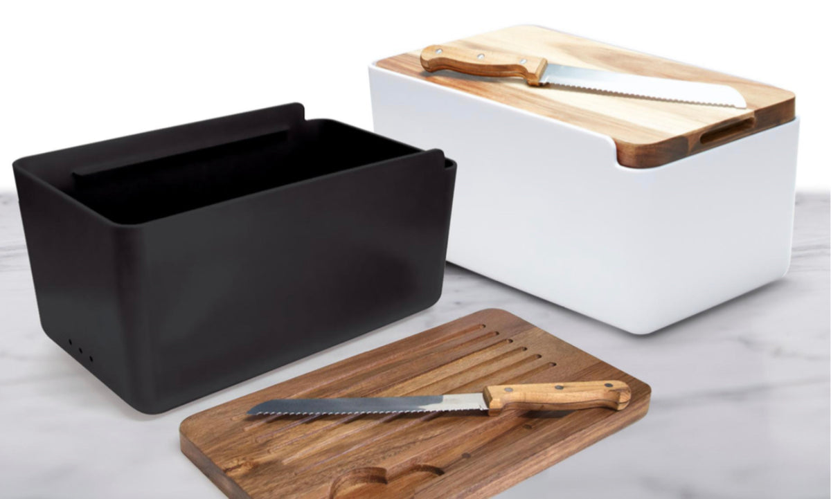 Salt&Pepper's HUDSON Bread Bin with Wooden Cutting Board is the result of a beautiful combination of acacia wood and white. Includes bread bin, chopping board and bread knife. Shop online or instore. AfterPay available. Australia wide Shipping. | Bliss Gifts & Homewares | Unit 8, 259 Princes Hwy Ulladulla | South Coast NSW | 0427795959, 44541523