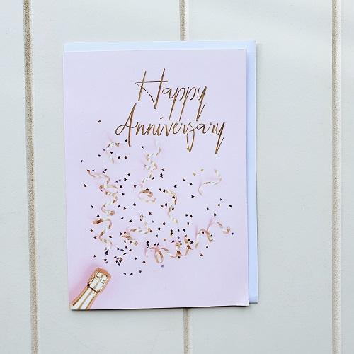 Pop the Champagne and celebrate with our Happy Anniversary Champagne Greeting card. Features Stars and Streamers on the front and 'To many more years together!' written on the inside, this gorgeous card still gives you room to write your own handwritten message | Bliss Gifts & Homewares | Unit 8, 259 Princes Hwy Ulladulla | South Coast NSW | Online Retail Gift & Homeware Shopping | 0427795959, 44541523
