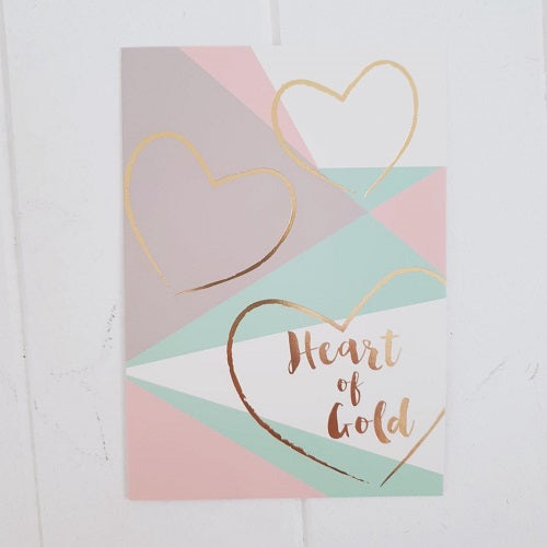Heart of Gold All Occasion Greeting Card. Give this gorgeous pastel coloured all occasion card to someone with a Giant Heart of Gold! | Bliss Gifts & Homewares | Unit 8, 259 Princes Hwy Ulladulla | South Coast NSW | Online Retail Gift & Homeware Shopping | 0427795959, 44541523