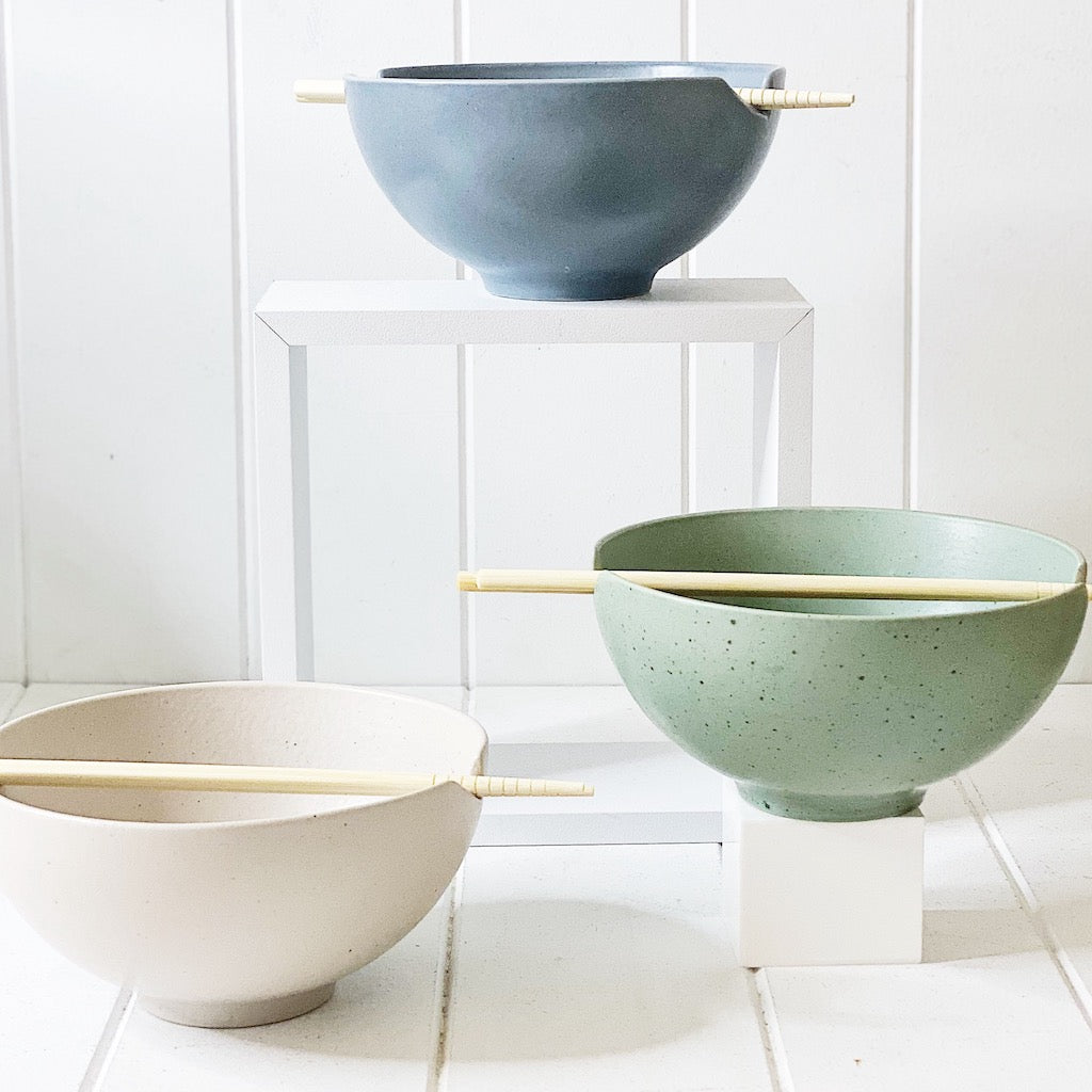 Adorn your home with eclectic serveware from Salt&Pepper''s IKANA collection. These 16.5cm iron, stone and moss coloured bowls with chopsticks, which are hand-dipped in a beautiful glaze.| Bliss Gifts & Homewares | Unit 8, 259 Princes Hwy Ulladulla | South Coast NSW | Online Retail Gift & Homeware Shopping | 0427795959, 44541523